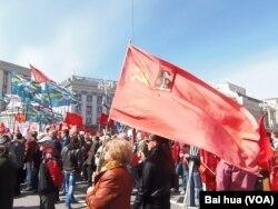 去年5月1日莫斯科市中心的共产党集会。共产党势力在俄罗斯仍然强大。(美国之音白桦拍摄)