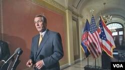 Ketua DPR AS, John Boehner memberikan keterangan pers soal upaya Partai Republik untuk memangkas anggaran dan menciptakan lapangan kerja (1/4).