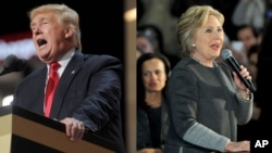 Republican presidential candidate Donald Trump, left, and his Democratic opponent Hillary Clinton are shown in this composite image.