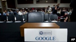 谷歌拒绝派最高主管出席2018年9月5日的参议院听证会(美联社)