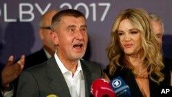 Андрей Бабиш с супругой. Прага, Чехия. 21 октября 2017 г.