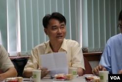 """""""兩岸政策協會""""副理事長陳建仲(美國之音楊明攝)"""