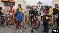 自由西藏自行車之旅記者會。(美國之音張永泰攝)
