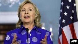 Ngoại trưởng Hoa Kỳ Hillary Clinton trong cuộc họp báo tại Bộ Ngoại giao Hoa Kỳ, ngày 11/7/2011