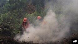 Petugas pemadam kebakaran berupaya memadamkan api di Pekanbaru, provinsi Riau, 14 September 2019. (Foto: dok).