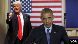 美國總統奧巴馬與共和黨總統參選人川普 (美國之音圖片合成)