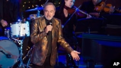 Neil Diamond performs at the 84th Annual Rockefeller Center Christmas Tree lighting ceremony, Nov. 30, 2016, in New York.