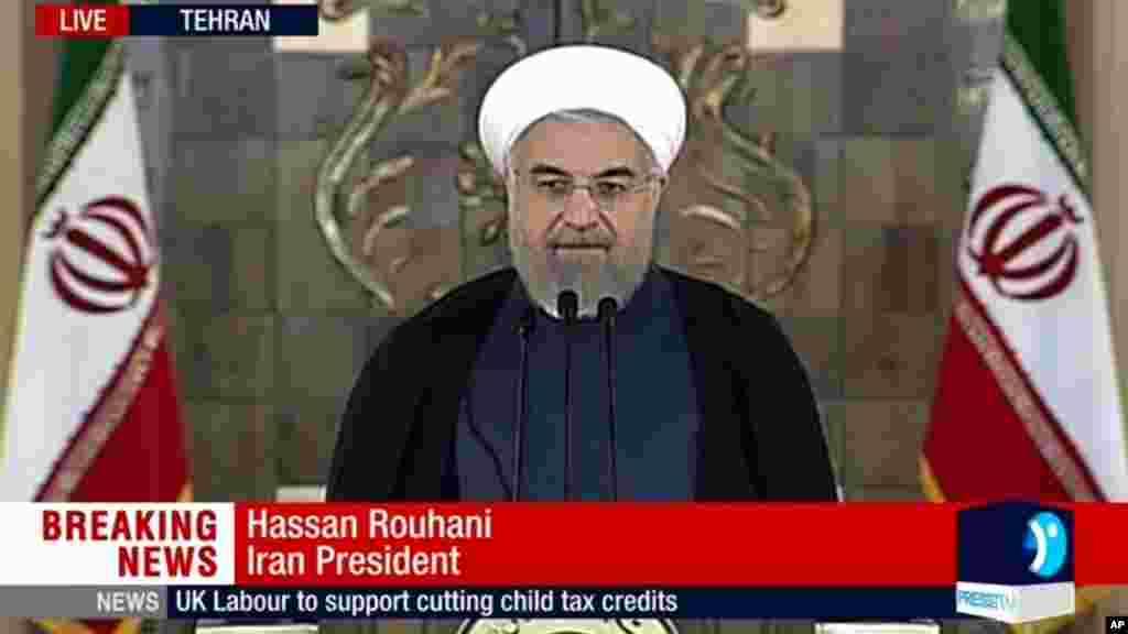 Shugaban Iran Hassan Rouhani a Tehran, Yuli 14, 2015.