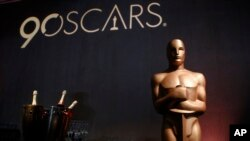 An Oscar statue appears in the ballroom during the 89th Academy Awards Nominees Luncheon at The Beverly Hilton Hotel in Beverly Hills, California, Feb. 5, 2018.