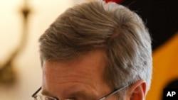 德國總統沃爾夫星期五在柏林宣佈辭職