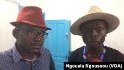 Frankc Nzila Malembe et Charlin Kinoua de Ras-le-Bol, à Brazzaville, le 24 mai 2017. (VOA/Ngouela Ngoussou)