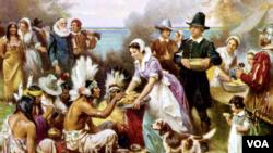 Классическая картина Жана Леона Жерома Ферриса, благодаря которой образ Дня благодарения для миллионов американцев выглядит именно так. В реальности пилигримы никогда не носили таких костюмов, а представители племени вампаноаг одеты как индейцы с совсем другой части континента