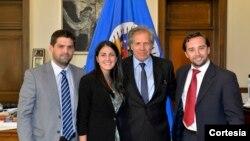 El Secretario General de la OEA, Luis Almagro y Rosa María Paya, Felipe Algorta y Nicolás Albertoni, presidenta y miembros de la RedLat.