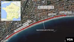 Peyk şəkli Nitsada Promenade des Anglais xiyabanı boyunca irəliləyən yük maşınının marşrutunu göstərir.