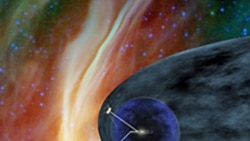 This artist's picture showing NASA's two Voyager spacecraft exploring an area of space known as the heliosheath. It is the outer shell of the bubble of charged particles around our sun.