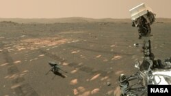 NASA's Perseverance Mars rover took a 'selfie' with the Ingenuity helicopter, seen here about 13 feet (3.9 meters) from the rover. This image was taken by the WASTON camera on the rover's robotic arm on April 6, 2021.