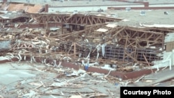 An overview of a warehouse destroyed by Hurricane Gilbert at the San Antonio Air Logistics Center, September 17, 1988. (U.S. Department of Defense / TSGT Michael J. Haggerty)