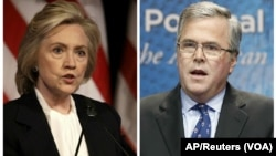 Democratic presidential candidate Hillary Clinton, left, and Republican presidential candidate Jeb Bush.