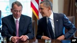 Спикер Палаты представителей Конгресса США Джон Бейнер и президент США Барак Обама (архивное фото)