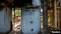 Reaktor za proizvodnju u fabrici pesticida posle curenja opasnih gasova