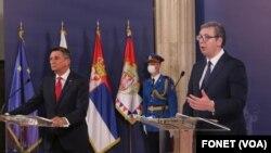 Predsednik Slovenije Borut Pahor i predsednik Srbije Aleksandar Vučić (foto Fonet)