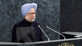 India's Prime Minister Manmohan Singh addresses the 68th United Nations General Assembly, New York, Sept. 28, 2013.