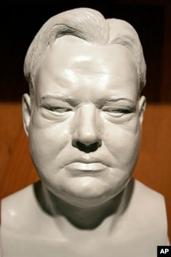 FILE - A bust of President Herbert Hoover sits on display at the Herbert Hoover Presidential Library and Museum in West Branch, Iowa.
