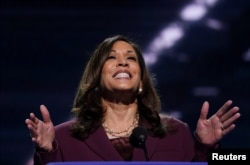 Sen. Kamala Harris accepts the Democratic vice presidential nomination during the Democratic National Convention in Wilmington, Delaware, Aug. 19, 2020.