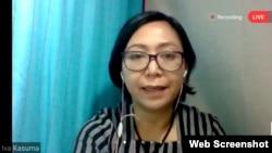 Iva Kasuma memaparkan mengenai kasus kekerasan seksual pada perempuan dan anak (Foto: screenshot)