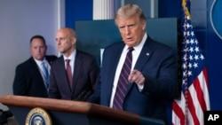 美國總統特朗普在白宮的記者會上(2020年8月23號)。