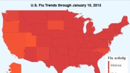 Amerika gripp iskanjasida. To'q qizil vaziyat juda og'ir bo'lgan, ochroq qizil esa tarqalish darajasi yuqori shtatlardir.