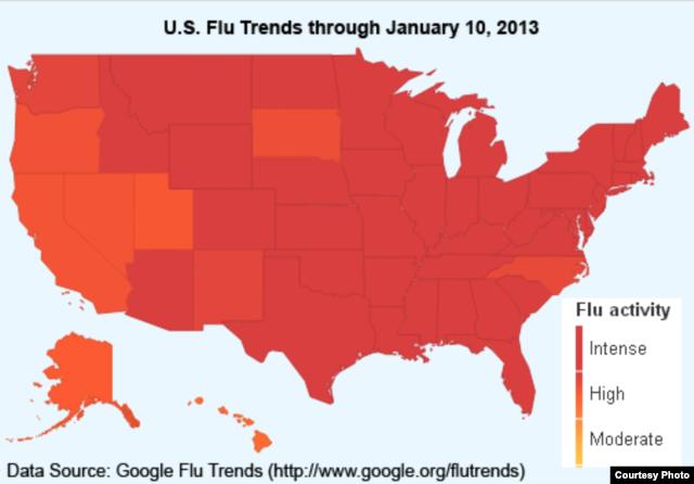 Mức độ lan tràn của dịch cúm trên toàn Hoa Kỳ.