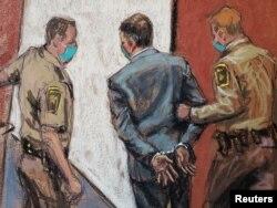 Cựu cảnh sát Minneapolis Derek Chauvin bị áp giải sau khi bị tuyên án phạm tội sát nhân trong cái chết của George Floyd. (Reuters)