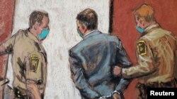 На этой зарисовке полицейские выводят Дерека Шовина в наручниках из зала суда после вынесения обвинительного приговора, Миннеаполис, 20 апреля 2021 года