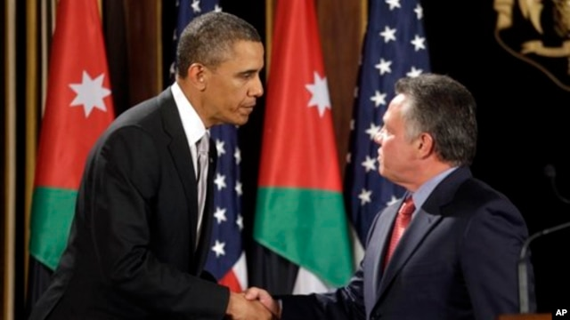 President Obama, left, and Jordan's King Abdullah in Amman, Jordan March 22, 2013
