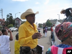 Cowboy association members, like Randy Harris, keep the memory of black cowboys alive through educational programs at schools, churches and neighborhood groups in northern California.