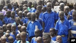 Aruna Kenyi took this picture of a teacher with his students in Kansuk, South Sudan, where Kenyi hopes to establish a free lunch program.