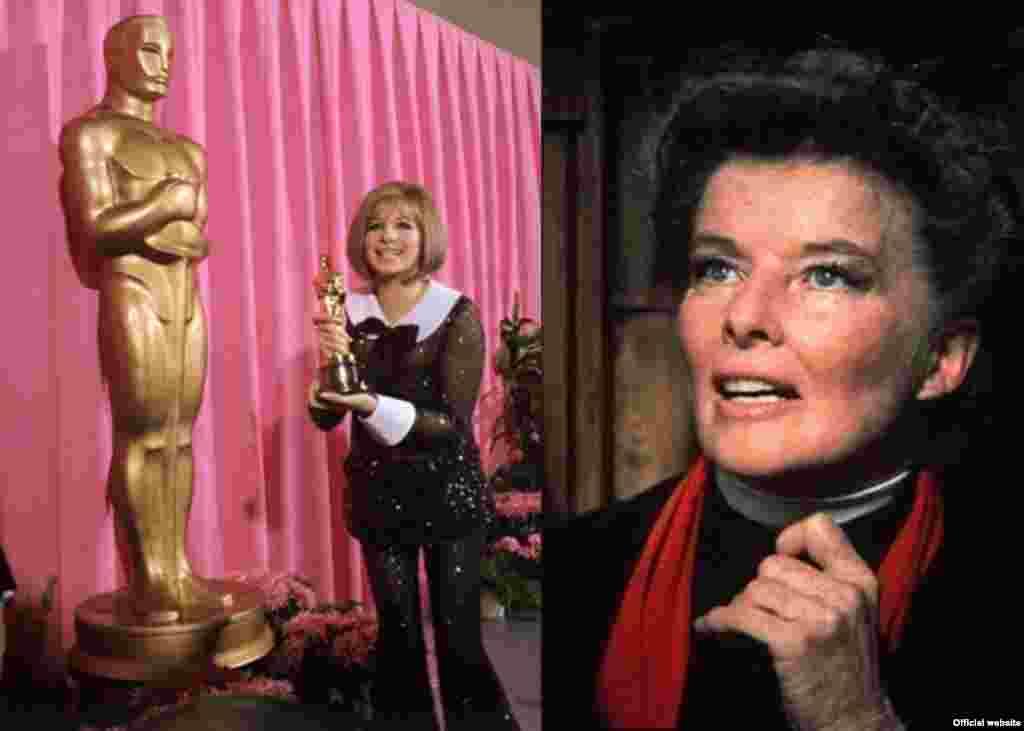 """Giải Nữ diễn viên chính xuất sắc nhất năm 1968 chia đôi cho cả hai nữ diễn viên Barbra Streisand (trái) cho phim """"Funny Girl"""" và Katharine Hepburn (phải) cho phim """"The Lion in Winter."""" Hepburn giành giải Oscar diễn xuất thứ 3 trong sự nghiệp của bà, nhiều hơn bất cứ diễn viên nam hay nữ nào tính tới thời điểm đó. Bà giành thêm giải Oscar thứ 4 và cũng là cuối cùng vào năm 1982 cho phim """"On Golden Pond."""" (AMPAS)"""