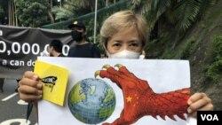 藝人葉德嫻參與9月8日遊行支持美國國會通過香港人權與民主法案。(攝影: 美國之音湯惠芸)
