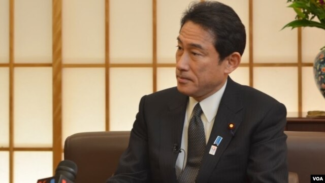 Japanese Foreign Minister Fumio Kishida is interviewed by VOA, in Tokyo, Feb. 27, 2013.