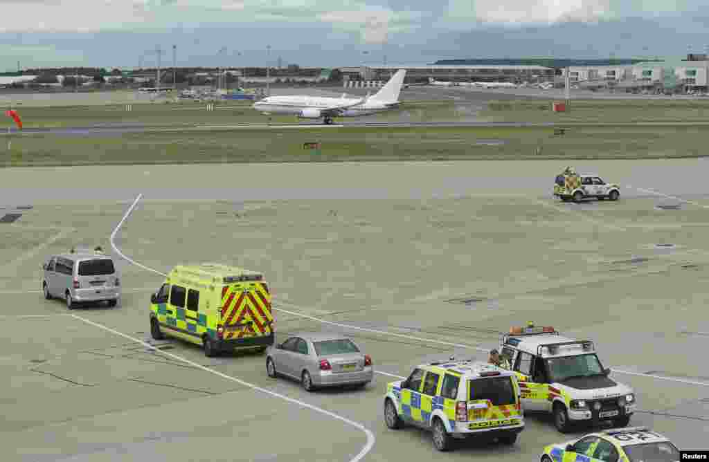 The plane carrying Malala Yousufzai, the Pakistani girl shot in the head by Taliban gunmen, arrives at Birmingham airport, England October, 15, 2012.