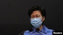 La máxima dirigente de Hong Kong, Carrie Lam, ofrece una conferencia de prensa el 26 de mayo de 2020.