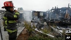 Các căn nhà bị phá hủy trong trận động đất ngày 24/8/2014 tại Napa Valley, bắc California.
