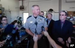 Douglas County Sheriff John Hanlin addresses the media following a deadly shooting at Umpqua Community College in Roseburg, Ore., Thursday, Oct. 1, 2015.