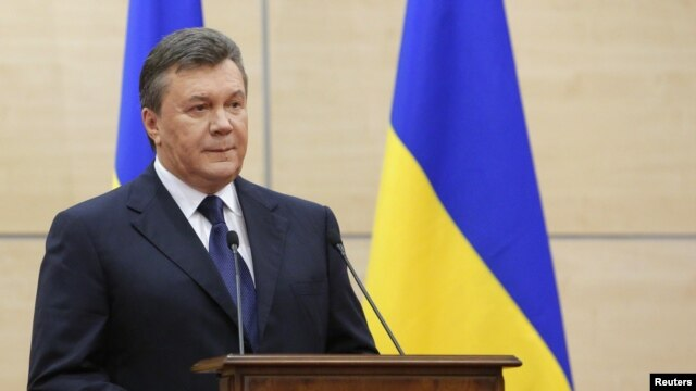 Ousted Ukrainian president Viktor Yanukovich during a news conference in Rostov-on-Don, Russia, March 11, 2014.