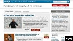 Situs Change.org saat memuat petisi bagi pembebasan seniman Tiongkok, Ai Weiwei. Situs ini diserang peretas tak lama setelah petisi ini muncul online.