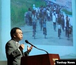 조동호 한국수출입은행 북한ㆍ동북아연구센터 소장이 28일 서울에서 열린 '북한의 금융 : 실태와 과제' 세미나에서 북한의 경제구조 등에 관한 기조발표를 하고 있다.