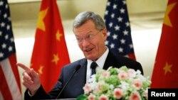 新任美國駐中國大使博卡斯星期三在北京的一個午餐會上第一次發表公開演講