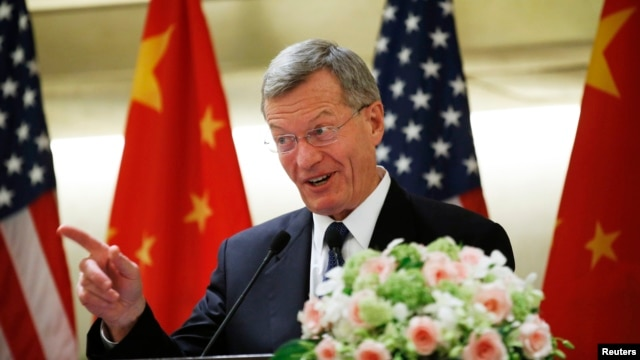 U.S. Ambassador to China Max Baucus speaks at a luncheon with U.S. business leaders in China, at a hotel in Beijing, June 25, 2014.