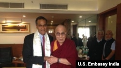 Ambassador Richard Verma after his meeting with Dalai Lama